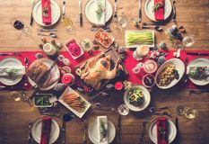 Christmas Family Dinner Table Concept. Christmas Celebration Food Dinner Table Concept stock images