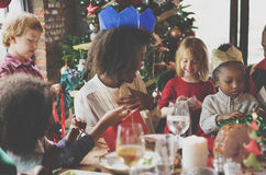 Christmas Family Dinner Table Concept. Christmas Celebration Presents Gift Concept stock image