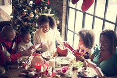 Christmas Family Dinner Table Concept. Happy Family Christmas Celebration Concept stock photography