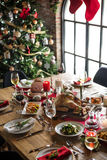 Christmas Family Dinner Table Concept. Family Togetherness Christmas Celebration Dinner Table Concept stock images