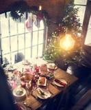 Christmas Family Dinner Table Concept. Tradition Christmas Family Dinner Table Decoration Concept stock photos