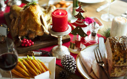 Christmas Family Dinner Table Concept. Tradition Christmas Family Dinner Table Decoration Concept stock photo