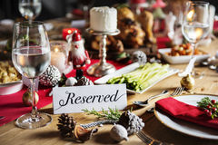 Christmas Family Dinner Table Concept Stock Photography