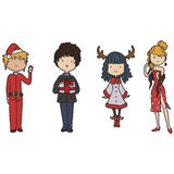 Christmas family. Doodle family dressed up for christmas Royalty Free Stock Photography