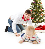 Christmas, father and son on white background Royalty Free Stock Photos