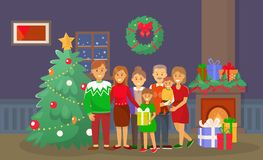 Christmas Family at Home, People by Pine Tree. Vector. Fireplace and fir, wreath with bow decoration of interior, mother and father, presents and gifts stock illustration