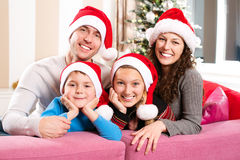 Christmas Family with Kids royalty free stock image
