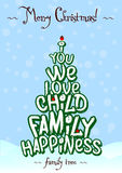 Christmas family Love tree typography card design. Blue royalty free illustration