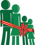 Christmas family in need. Green man woman and children icons wrapped in bow Stock Photos