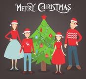 Christmas family portrait. Family holidays. Vector Stock Photos