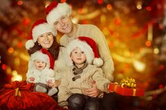 Christmas Family Portrait, Happy Father Mother Child and Baby Wi royalty free stock photos