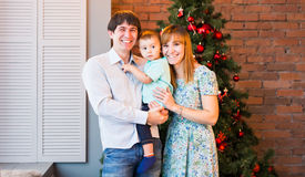 Christmas Family Portrait In Home Holiday Living Room, House Decorating By Xmas Tree Stock Photography