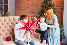 Christmas Family Portrait In Home Holiday Living Room, House Decorating By Xmas Tree Candles Garland Royalty Free Stock Images