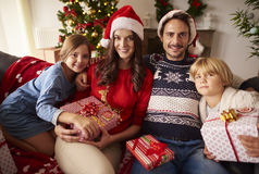 Christmas with family. Portrait of loving family at Christmas Stock Images