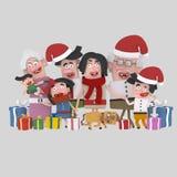 Christmas family posing photo. 3D Royalty Free Stock Photo