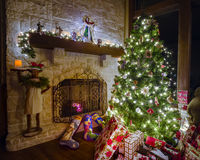 Christmas in the Family Room Royalty Free Stock Image