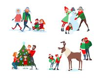 Christmas Family Scenes. Father, Mother and Son Making Snowman. Kids Feeding Reindeer. Family Decorating Christmas Tree. Parents with Kids Sledding. Vector Stock Photos