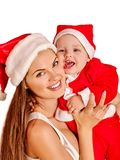 Christmas family under holiday tree. royalty free stock photography