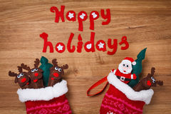 Christmas Family, Socks. Xmas snow Decoration, Santa and deers. Stock Photo