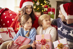 Christmas with family. Family spending Christmas together at home Royalty Free Stock Image