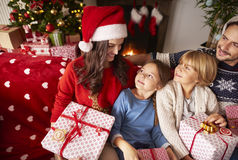 Christmas with family. Family spending Christmas together at home Royalty Free Stock Images