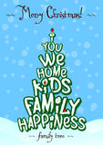 Christmas family tree typography card design. Blue vector illustration
