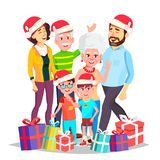 Christmas Family Vector. Celebrating. Mom, Dad, Children, Grandparents Together. In Santa Hats. Decoration Element vector illustration