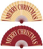 Christmas fan. Vector illustration of oriental fan with merry christmas wording Stock Photos