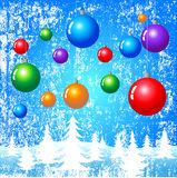 Christmas Fantasy. Christmas ornaments hanging over a winter background — VECTOR stock illustration