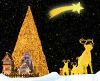 Christmas Fantasy. Composition of some traditional symbols of Christmas Royalty Free Stock Photos