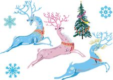 Christmas fantasy deers Stock Photos
