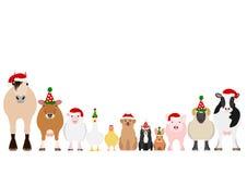 Christmas farm animals border set stock illustration