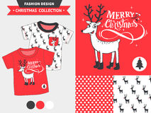 Christmas fashion design set. Hipster Merry Christmas fashion design set for baby and kids wear with artwork and seamless pattern Royalty Free Stock Image