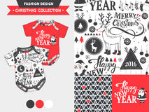 Christmas fashion design set. Hipster Merry Christmas fashion design set for baby and kids wear with artwork and seamless pattern Stock Images