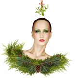 Christmas Fashion Fantasy With Mistletoe and Holiday Makeup Stock Photography
