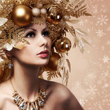 Christmas Fashion Girl with Decorated Hairstyle Royalty Free Stock Photos