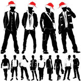 Christmas fashion men. In black and red Royalty Free Stock Photos