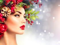 Christmas fashion model woman Stock Photography