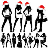 Christmas fashion women. In black and red vector illustration