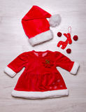 Christmas fashionable baby set of clothes Royalty Free Stock Photo