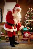 Christmas father brings Christmas presents Stock Photo