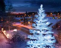 Christmas feeling home street with decorated tree. Winter feeling snowy home street evening with beautifully lit Christmas tree stock images