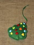 Christmas felt fir-tree. Hand made  souvenir. Stock Image