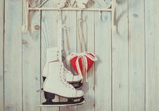 Christmas felt hearts. Valentine vintage decor - red gingham hearts on the hooks Royalty Free Stock Photo