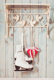 Christmas felt hearts. Valentine vintage decor - red gingham hearts on the hooks Stock Photography