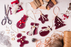 Christmas felted decor Royalty Free Stock Photos