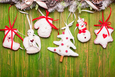 Christmas felted toys Stock Photography