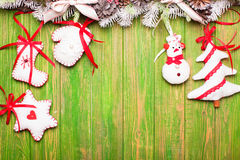 Christmas felted toys Royalty Free Stock Photos