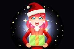 Christmas female cute woman cartoon surprised girl hold light gift box in hands new year pile of gifts background flat Stock Photos