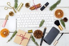 Christmas female desktop with Christmas decorations and beauty. royalty free stock images